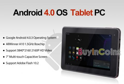 """7"""" Capacitive ePad 1.5GHz Android 4.0 Tablet 2160P PC Webcam Wifi 4GB 512MB DDR3"""